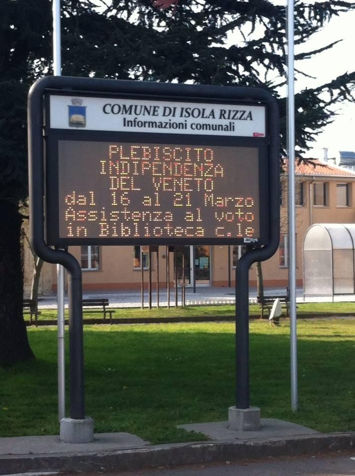 ALLE ORE 18 DEL 20 MARZO OLTRE UN MILIONE E SETTECENTOMILA I VOTI, PARI AL 46,34% DEL CORPO ELETTORALE. DOMANI SARÀ DICHIARAZIONE DI INDIPENDENZA DEL VENETO? Alle ore 18 del 20 marzo, penultimo giorno di votazione del Referendum di indipendenza del Veneto, i votanti registrati sono 1.729.933, corrispondenti al 46,34% del corpo elettorale. La tendenza […]