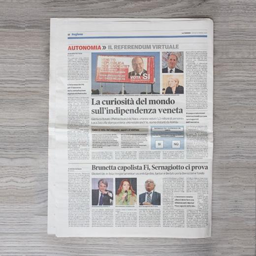 L'altro giorno abbiamo iniziato la nostra collaborazione con le istituzioni regionali impegnate nella fase di attuazione del processo esecutivo per l'indizione del nuovo referendum di indipendenza del Veneto da parte della Regione, in ottemperanza alla legge regionale 16/2014 pubblicata sul Bur il 24 giugno scorso. La prima concreta azione intrapresa è stata la riapertura dell'Albo […]