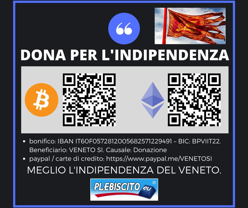 Ora possiamo ricevere donazioni anche tramite Bitcoin ed Ethereum. Per aiutare il processo di indipendenza, scegli il metodo per te più agevole tra i seguenti: bonifico:IBAN: IT39V0306912090100000001208 – BIC: BCITITMMXXX – Destinatario: VENETO SI – Causale: Donazione paypal / carte di credito:https://www.paypal.me/VENETOSI Bitcoin:3BjCUCZXE9r23uD5eoVQSMK71KgzVGqxXc Ethereum:0x6DCA00Df326ac81038A874930601Ef7536BF3d61 Altri Token ERC-20 compatibili:0x5fDb7762aB891FD1a9ee6E69189B8CF5C7B447e0 La nostra azione dipendeesclusivamente dal sostegno di […]