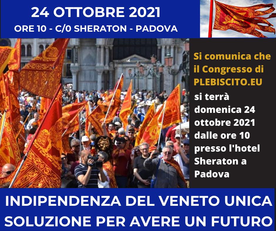 Congresso di Plebiscito.eu convocato per il 24 ottobre 2021 a Padova